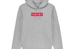 DESIGNLOVR Hoodie in Grau - Logo-Print in Rot - Vorderseite