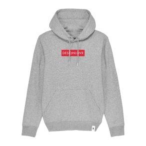 DESIGNLOVR Hoodie in Grey - Logo Print in Red - Front
