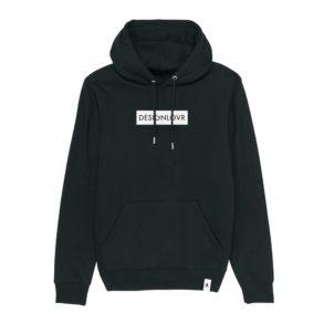 DESIGNLOVR Hoodie in Black - Logo Print in White - Front
