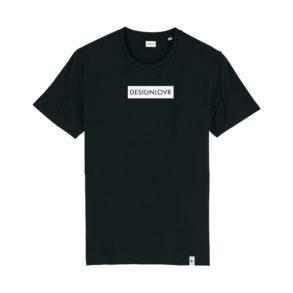 DESIGNLOVR T-Shirt in Black - Logo Print in White - Front