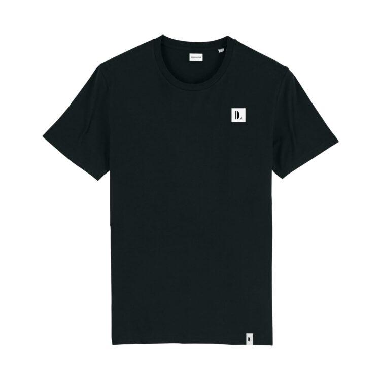 DESIGNLOVR T-Shirt in Black - Monogramm Print in White - Front