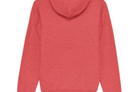 DESIGNLOVR Hoodie in Heather Red - Logo Print Outlined in White - Back