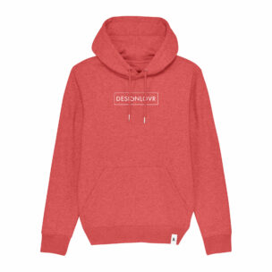 DESIGNLOVR Hoodie in Heather Red - Logo Print Outlined in White - Front